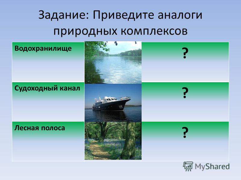 Задание: Приведите аналоги природных комплексов Водохранилище ? Судоходный канал ? Лесная полоса ?