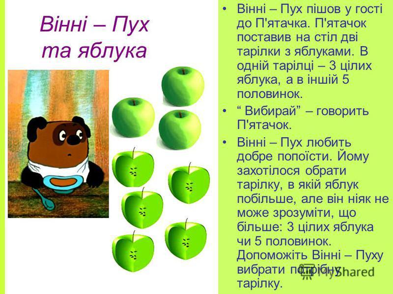 Вінні – Пух та яблука Вінні – Пух пішов у гості до П'ятачка. П'ятачок поставив на стіл дві тарілки з яблуками. В одній тарілці – 3 цілих яблука, а в іншій 5 половинок. Вибирай – говорить П'ятачок. Вінні – Пух любить добре попоїсти. Йому захотілося об