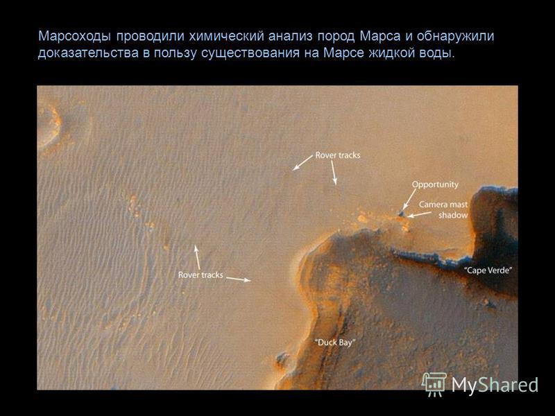 Марсоходы проводили химический анализ пород Марса и обнаружили доказательства в пользу существования на Марсе жидкой воды.