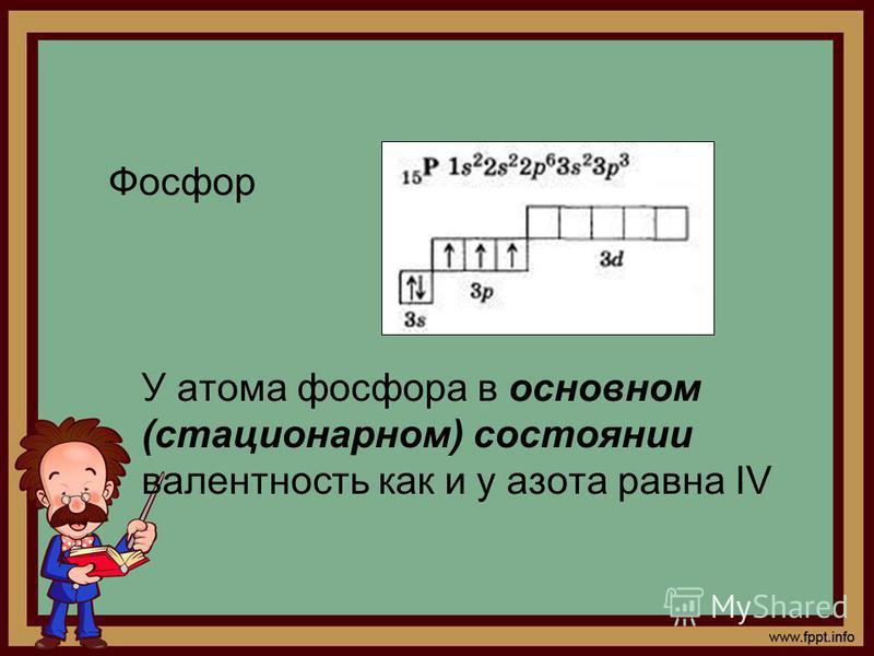 Фосфор У атома фосфора в основном (стационарном) состоянии валентность как и у азота равна IV