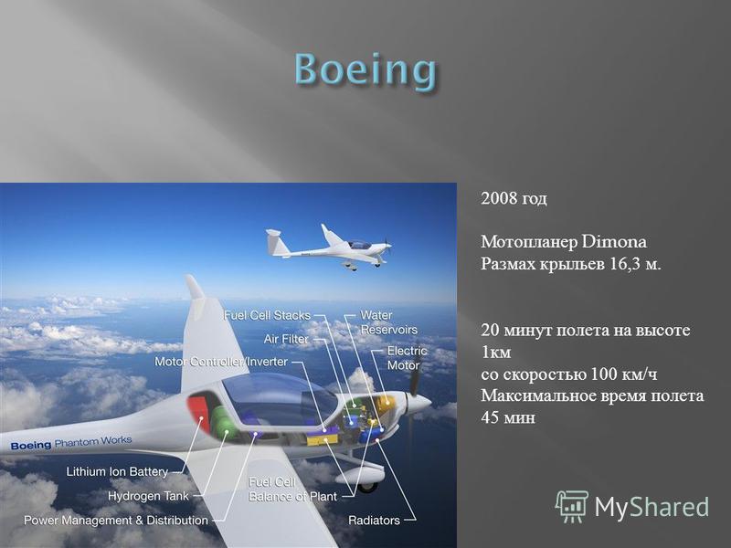 2008 год Мотопланер Dimona Размах крыльев 16,3 м. 20 минут полета на высоте 1 км со скоростью 100 км/ч Максимальное время полета 45 мин