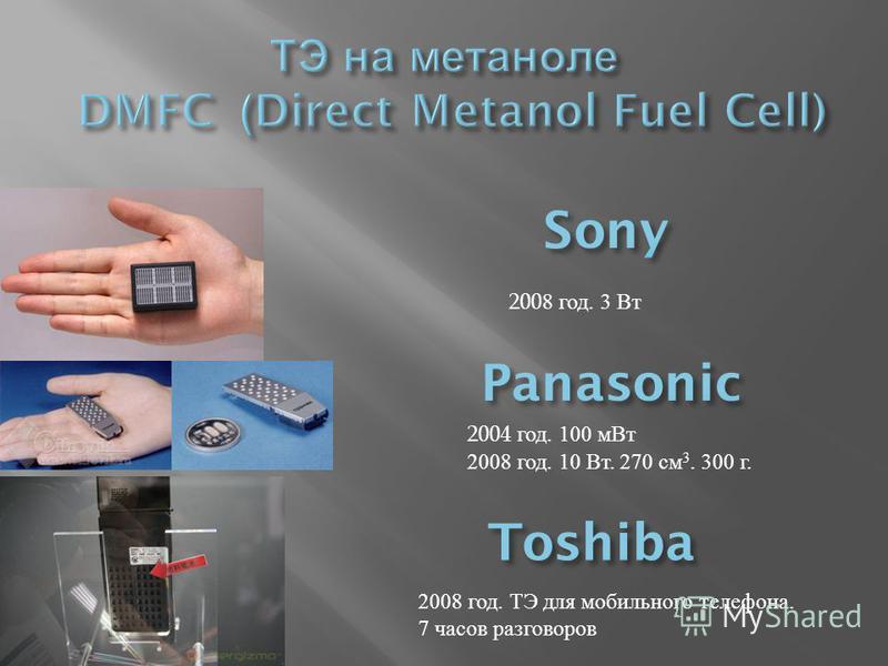 2004 год. 100 м Вт 2008 год. 10 Вт. 270 см 3. 300 г. 2008 год. ТЭ для мобильного телефона. 7 часов разговоров 200 8 год. 3 Вт