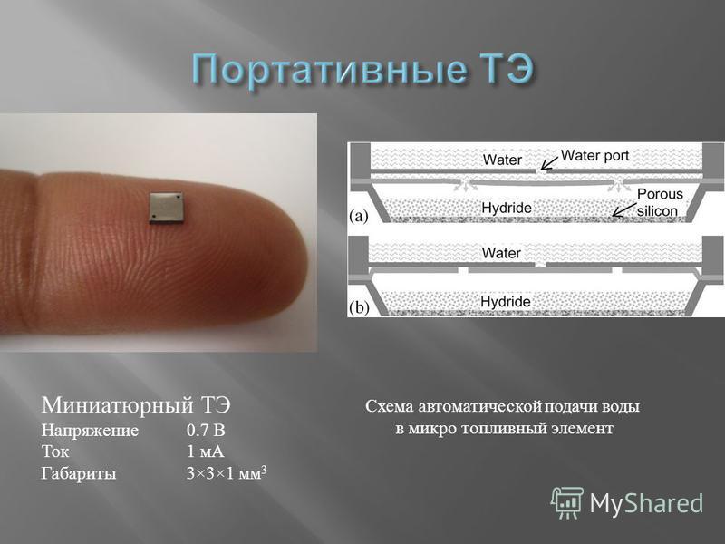 Миниатюрный ТЭ Напряжение 0.7 В Ток 1 мА Габариты 3×3×1 мм 3 Схема автоматической подачи воды в микро топливный элемент