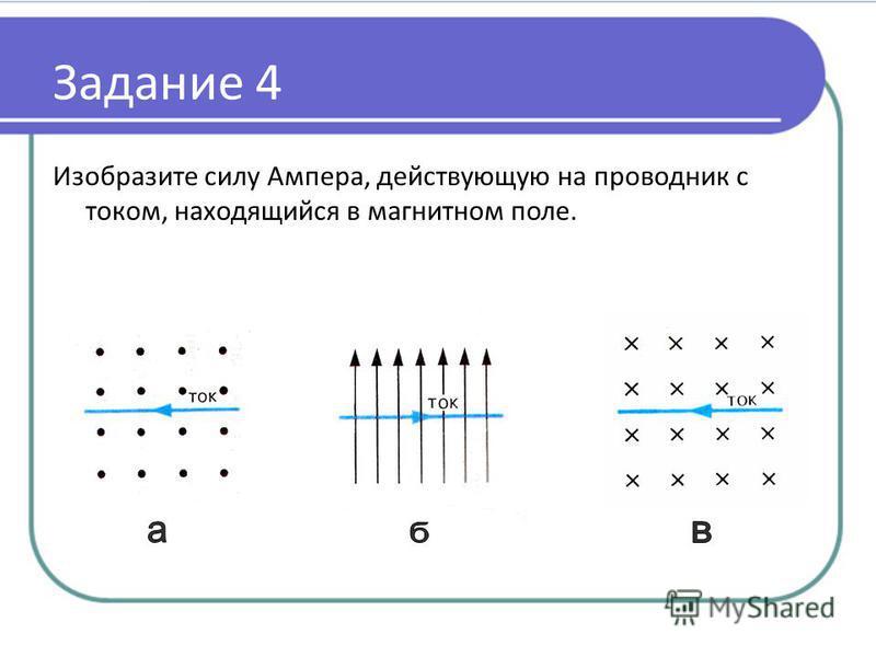 Задание 4 Изобразите силу Ампера, действующую на проводник с током, находящийся в магнитном поле.