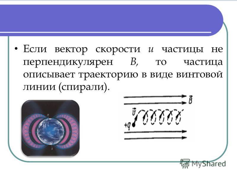 Если вектор скорости и частицы не перпендикулярен В, то частица описывает траекторию в виде винтовой линии (спирали).