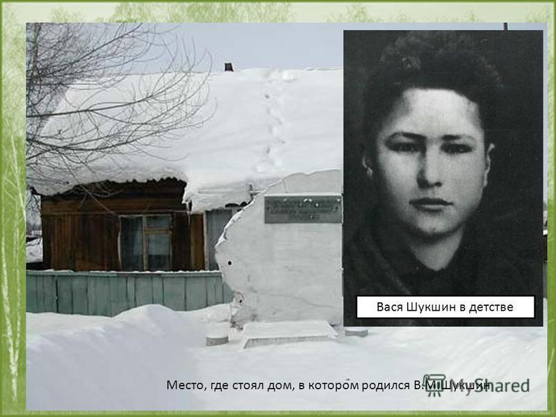 25 июля 1929 Родился в селе Сростки Бийского района Алтайского края Место, где стоял дом, в котором родился В.М.Шукшин Вася Шукшин в детстве
