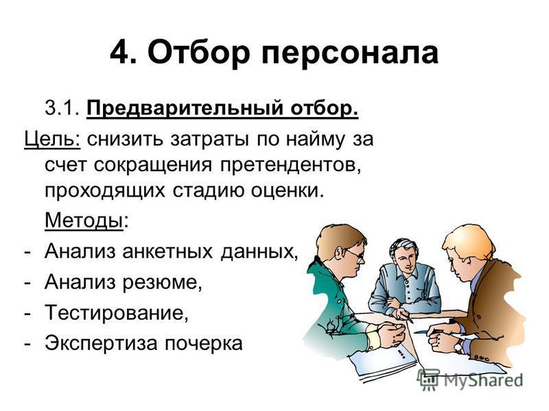 4. Отбор персонала 3.1. Предварительный отбор. Цель: снизить затраты по найму за счет сокращения претендентов, проходящих стадию оценки. Методы: -Анализ анкетных данных, -Анализ резюме, -Тестирование, -Экспертиза почерка