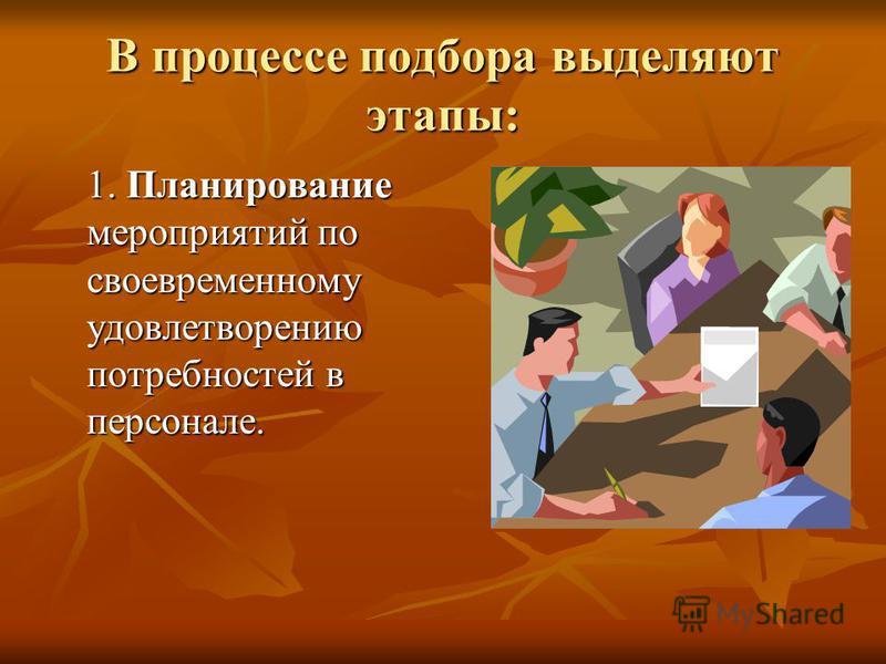 В процессе подбора выделяют этапы: 1. Планирование мероприятий по своевременному удовлетворению потребностей в персонале.
