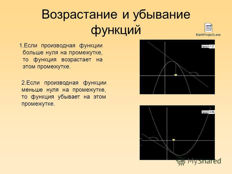 Возрастание и убывание функций 1. Если производная функции больше нуля на промежутке, то функция возрастает на этом промежутке. 2. Если производная функции меньше нуля на промежутке, то функция убывает на этом промежутке.