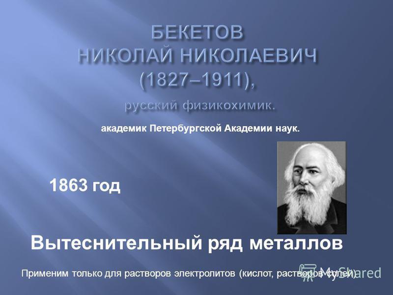 1863 год Вытеснительный ряд металлов академик Петербургской Академии наук. Применим только для растворов электролитов (кислот, растворов солей)