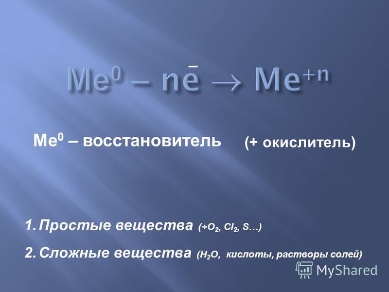 Ме 0 – восстановитель 1. Простые вещества (+О 2, Сl 2, S…) 2. Сложные вещества (Н 2 О, кислоты, растворы солей) (+ окислитель)