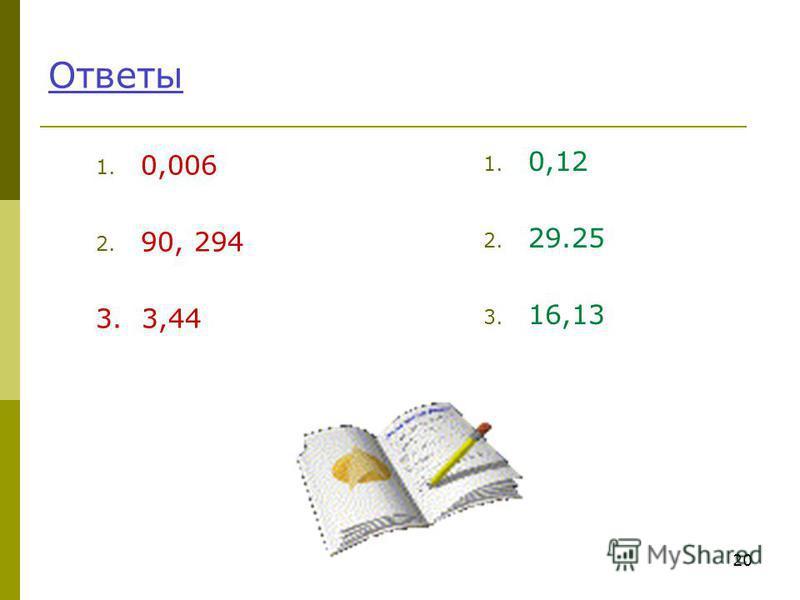 Ответы 1. 0,006 2. 90, 294 3. 3,44 1. 0,12 2. 29.25 3. 16,13 20