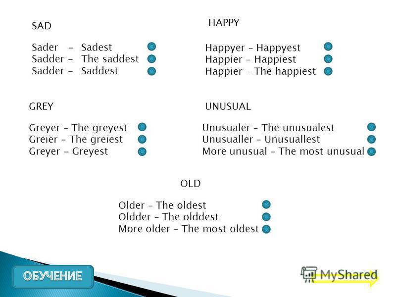 SAD Sader - Sadder - Sadest The saddest Saddest HAPPY Happyer – Happyest Happier – Happiest Happier – The happiest GREY Greyer – The greyest Greier – The greiest Greyer - Greyest UNUSUAL Unusualer – The unusualest Unusualler – Unusuallest More unusua