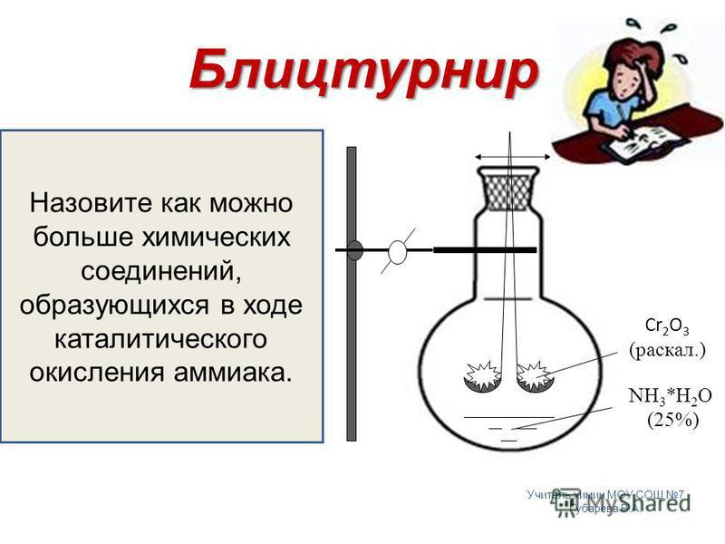 4NH 3 +5O 2 = 4NO+6H 2 O 2NO+O 2 = 2NO 2 2NO 2 +H 2 O = HNO 3 +HNO 2 3HNO 2 = HNO 3 +2NO+H 2 O 6NO 2 +2H 2 O = 4HNO 3 +2NO NH 3 +HNO 3 = NH 4 NO 3 Блицтурнир Сr 2 O 3 (раскол.) NH 3 *H 2 O (25%) Назовите как можно больше химических соединений, образу