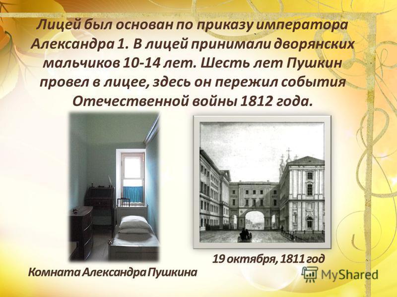 Лицей был основан по приказу императора Александра 1. В лицей принимали дворянских мальчиков 10-14 лет. Шесть лет Пушкин провел в лицее, здесь он пережил события Отечественной войны 1812 года.
