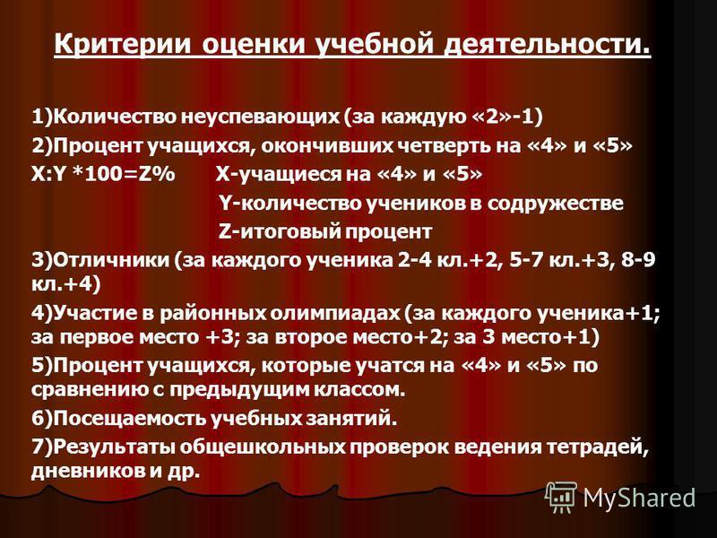 Критерии оценки учебной деятельности. 1)Количество неуспевающих (за каждую «2»-1) 2)Процент учащихся, окончивших четверть на «4» и «5» X:Y *100=Z% X-учащиеся на «4» и «5» Y-количество учеников в содружестве Z-итоговый процент 3)Отличники (за каждого