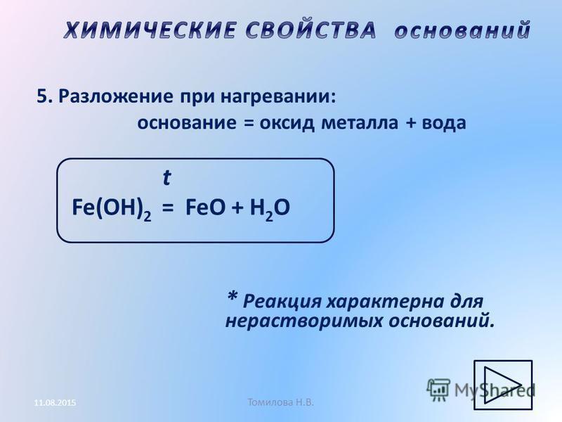 Томилова Н.В. 11.08.2015 5. Разложение при нагревании: основание = оксид металла + вода * Реакция характерна для нерастворимых оснований. t Fe(OH) 2 = FeO + H 2 O