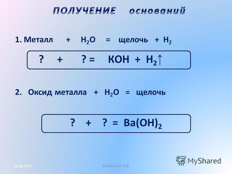 Томилова Н.В. 11.08.2015 1. Металл + H 2 O = щелочь + H 2 ? + ? = КOH + H 2 2. Оксид металла + H 2 O = щелочь ? + ? = Вa(OH) 2