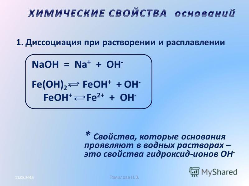 Томилова Н.В. 11.08.2015 1. Диссоциация при растворении и расплавлении * Свойства, которые основания проявляют в водных растворах – это свойства гидроксид-ионов ОН - NaOH = Na + + OH - Fe(OH) 2 FeOH + + OH - FeOH + Fe 2+ + OH -