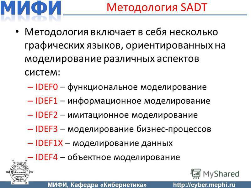 Методология включает в себя несколько графических языков, ориентированных на моделирование различных аспектов систем: – IDEF0 – функциональное моделирование – IDEF1 – информационное моделирование – IDEF2 – имитационное моделирование – IDEF3 – моделир