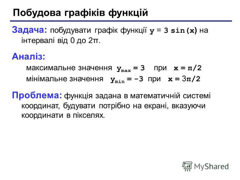 Побудова графіків функцій Задача: побудувати графік функції y = 3 sin(x ) на інтервалі від 0 до 2π. Аналіз: максимальне значення y max = 3 при x = π/2 мінімальне значення y min = -3 при x = 3 π/2 Проблема: функція задана в математичній системі коорди