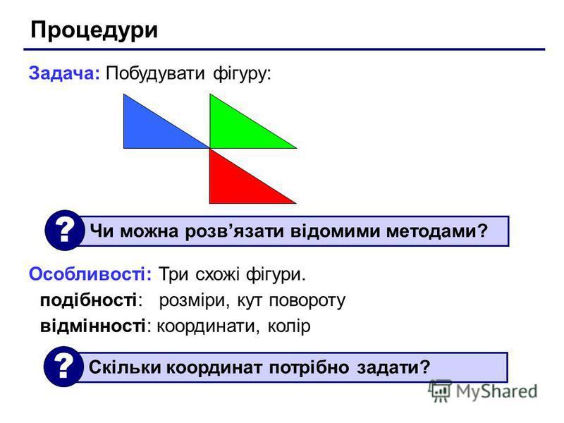Процедури Задача: Побудувати фігуру: Особливості: Три схожі фігури. подібності: розміри, кут повороту відмінності: координати, колір Чи можна розвязати відомими методами? ? Скільки координат потрібно задати? ?