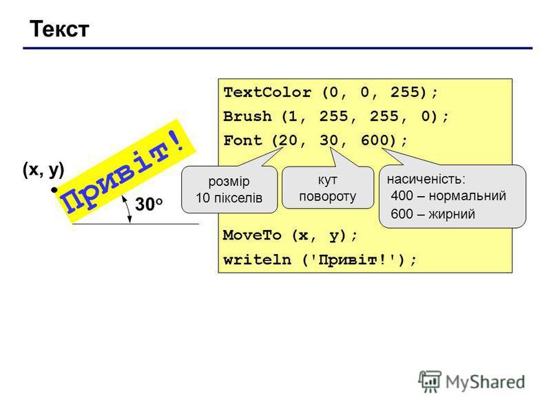 Текст TextColor (0, 0, 255); Brush (1, 255, 255, 0); Font (20, 30, 600); MoveTo (x, y); writeln ('Привіт!'); Привіт! (x, y) розмір 10 пікселів кут повороту насиченість: 400 – нормальний 600 – жирний 30 о
