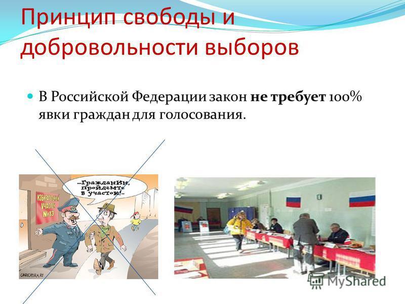 Принцип свободы и добровольности выборов В Российской Федерации закон не требует 100% явки граждан для голосования.