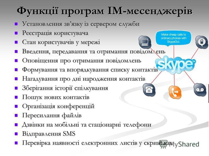 Функції програм ІМ-месенджерів Установлення звязку із сервером служби Установлення звязку із сервером служби Реєстрація користувача Реєстрація користувача Стан користувачів у мережі Стан користувачів у мережі Введення, передавання та отримання повідо