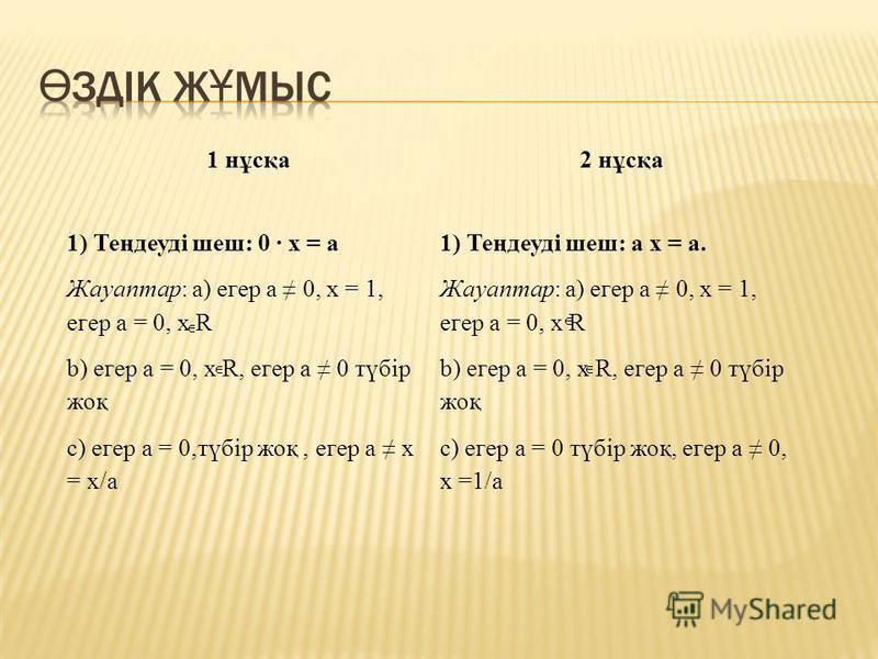 1 нұсқа2 нұсқа 1) Теңдеуді шеш: 0 · х = а Жауаптар: а) егер а 0, х = 1, егер а = 0, х R b) егер а = 0, х R, егер а 0 түбір жоқ с) егер а = 0,түбір жоқ, егер а х = x/a 1) Теңдеуді шеш: а х = а. Жауаптар: а) егер а 0, х = 1, егер а = 0, х R b) егер а =