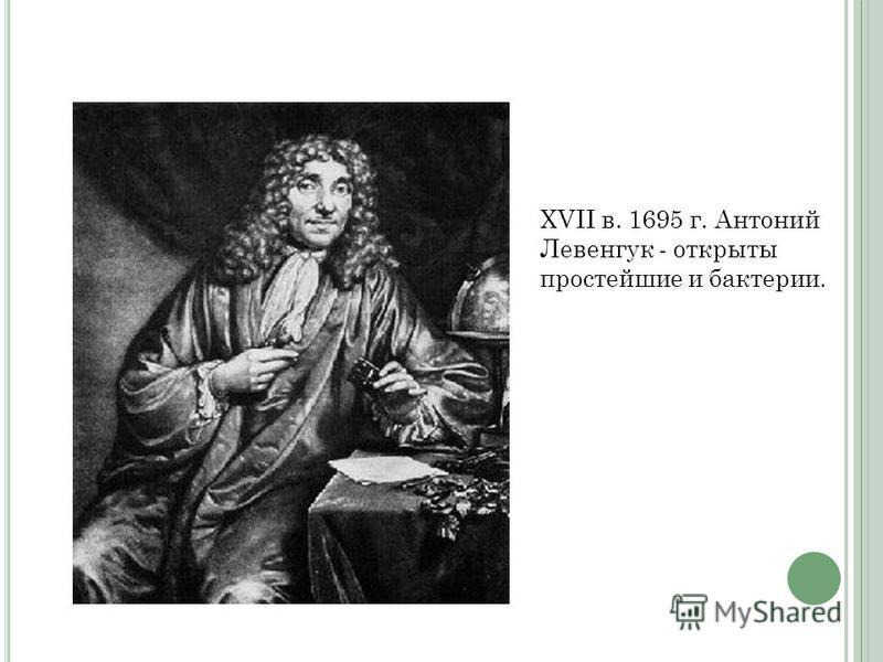 XVII в. 1695 г. Антоний Левенгук - открыты простейшие и бактерии.