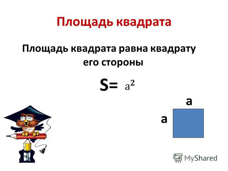 Площадь квадрата Площадь квадрата равна квадрату его стороны S= а а
