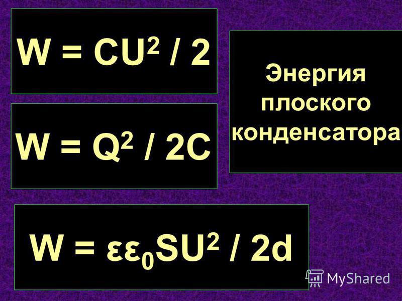W = CU 2 / 2 W = Q 2 / 2C W = εε 0 SU 2 / 2d Энергия плоского конденсатора