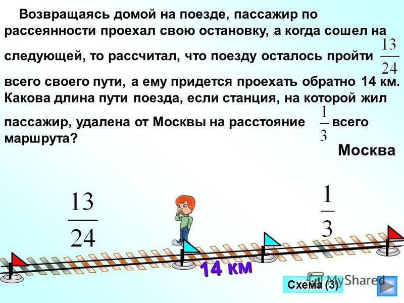 Схема (3) Возвращаясь домой на поезде, пассажир по рассеянности проехал свою остановку, а когда сошел на следующей, то рассчитал, что поезду осталось пройти всего своего пути, а ему придется проехать обратно 14 км. Какова длина пути поезда, если стан