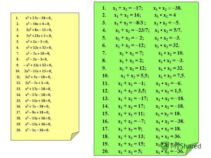 1. х х 2. х х 3. х х 4. х 23 х 5. х х 6. х х 7. х х 8. х х 9. х х 10. х х 11. х 2 х 12. х х, 13. х х 14. х х, 15. х х 16. х х 17. х х 18. х х 19. х х 20. х х 1. x 1 + x 2 = 17; x 1 x 2 38. 2. x 1 + x 2 = 16; x 1 x 2 = 4 3. x 1 + x 2 = 8/3 ; x 1 x 2 =