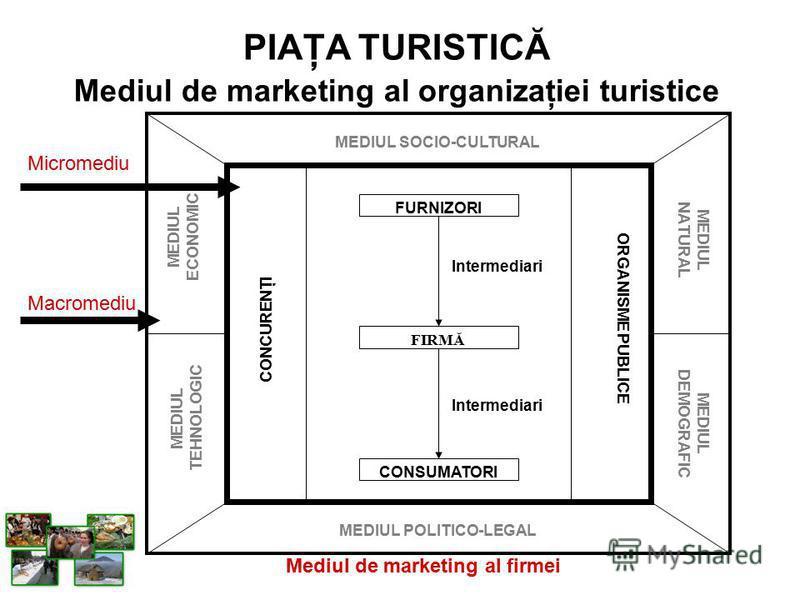 PIAŢA TURISTICĂ Mediul de marketing al organizaţiei turistice Mediul de marketing al firmei FURNIZORI FIRMĂ CONSUMATORI Intermediari CONCURENŢI ORGANISME PUBLICE MEDIUL POLITICO-LEGAL MEDIUL SOCIO-CULTURAL MEDIUL ECONOMIC MEDIUL TEHNOLOGIC MEDIUL NAT