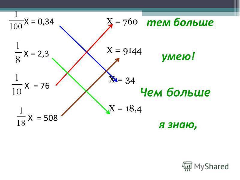 Чем больше Х = 760 Х = 9144 Х = 34 Х = 18,4 умею! я знаю, тем больше Х = 0,34 Х = 2,3 Х = 76 Х = 508