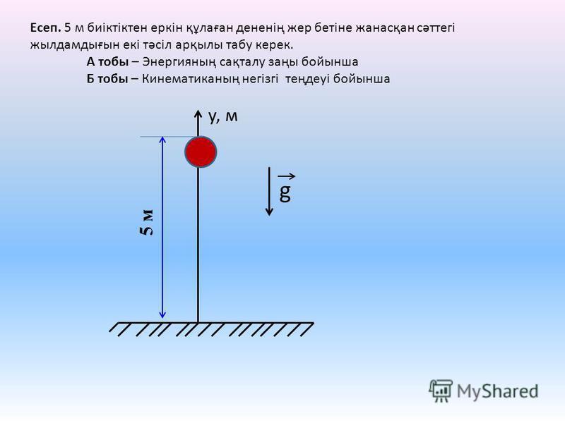 у, м g 5 м Есеп. 5 м биіктіктен еркін құлаған дененің жер бетіне жанасқан сәттегі жылдамдығын екі тәсіл арқылы табу керек. А тобы – Энергияның сақталу заңы бойынша Б тобы – Кинематиканың негізгі теңдеуі бойынша