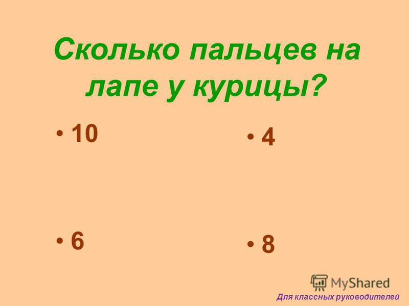 Сколько пальцев на лапе у курицы? 10 6 4 8 Для классных руководителей