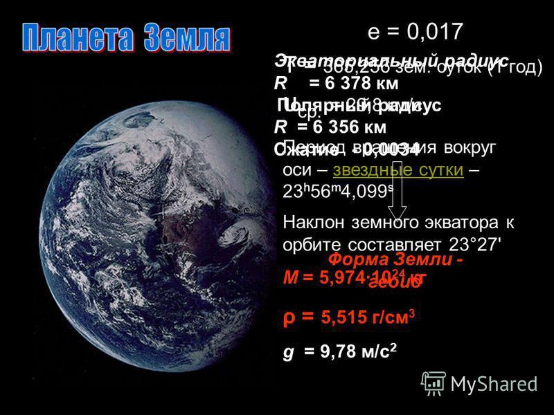 e = 0,017 T = 365,256 зем. суток (1 год) υ ср. = 29,8 км/с Период вращения вокруг оси – звездные сутки – 23 h 56 m 4,099 sзвездные сутки Наклон земного экватора к орбите составляет 23°27' М = 5,97410 24 кг ρ = 5,515 г/см 3 Экваториальный радиус R = 6