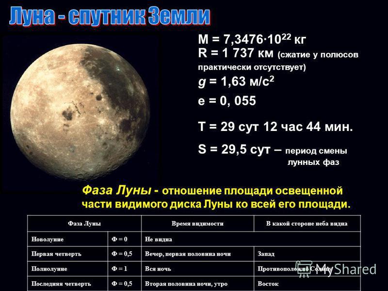 М = 7,347610 22 кг R = 1 737 км (сжатие у полюсов практически отсутствует) g = 1,63 м/с 2 е = 0, 055 Т = 29 сут 12 час 44 мин. S = 29,5 сут – период смены лунных фаз Фаза Луны Время видимостиВ какой стороне неба видна НоволуниеФ = 0Не видна Первая че