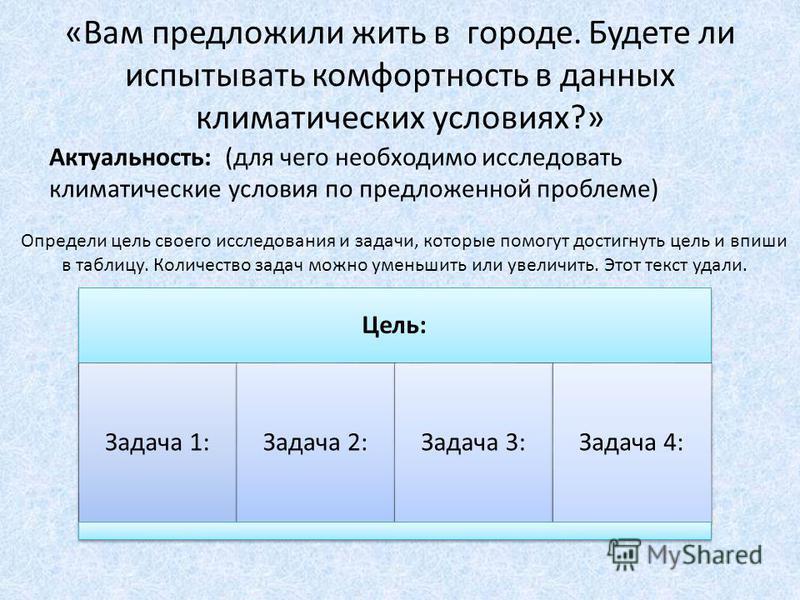 «Вам предложили жить в городе. Будете ли испытывать комфортность в данных климатических условиях?» Актуальность: (для чего необходимо исследовать климатические условия по предложенной проблеме) Цель: Задача 1:Задача 2:Задача 3:Задача 4: Определи цель