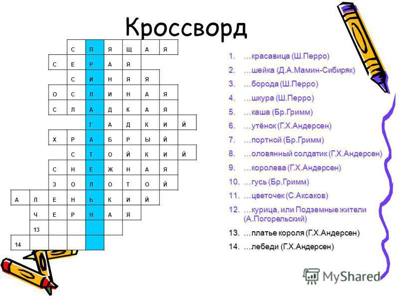 Кроссворд 1.…красавица (Ш.Перро) 2.…шейка (Д.А.Мамин-Сибиряк) 3.…борода (Ш.Перро) 4.…шкура (Ш.Перро) 5.…каша (Бр.Гримм) 6.…утёнок (Г.Х.Андерсен) 7.…портной (Бр.Гримм) 8.…оловянный солдатик (Г.Х.Андерсен) 9.…королева (Г.Х.Андерсен) 10.…гусь (Бр.Гримм)