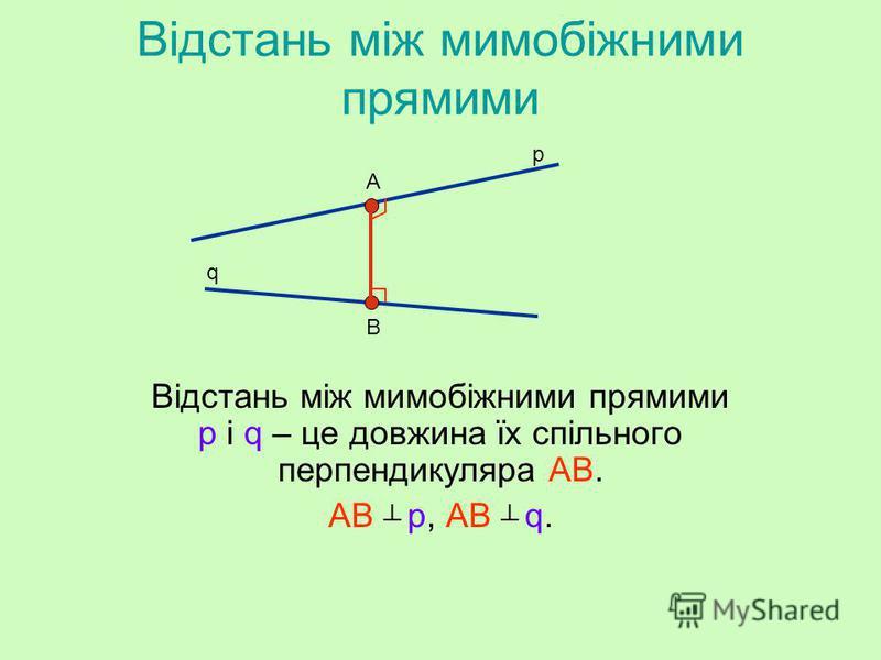 Відстань між мимобіжними прямими Геометрія 11 клас