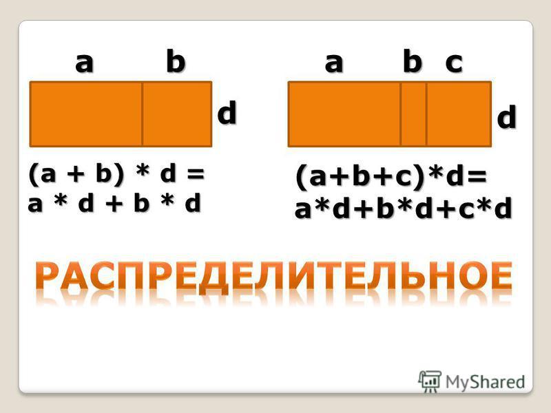 bbaac d d (a + b) * d = a * d + b * d (a+b+c)*d=a*d+b*d+c*d