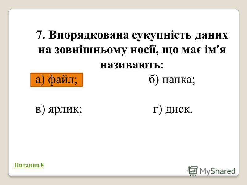 7. Впорядкована сукупність даних на зовнішньому носії, що має ім я називають: а) файл; б) папка; в) ярлик; г) диск. 50/50