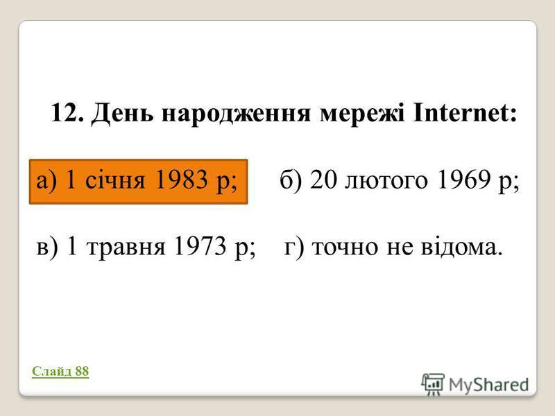 12. День народження мережі Internet: а) 1 січня 1983 р; б) 20 лютого 1969 р; в) 1 травня 1973 р; г) точно не відома. 50/50