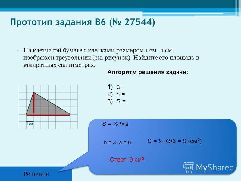 Прототип задания B6 ( 27544) На клетчатой бумаге с клетками размером 1 см 1 см изображен треугольник (см. рисунок). Найдите его площадь в квадратных сантиметрах. Решение S = ½ ha h = 3, a = 6 S = ½ 36 = 9 (см 2 ) Ответ: 9 см 2 Алгоритм решения задачи