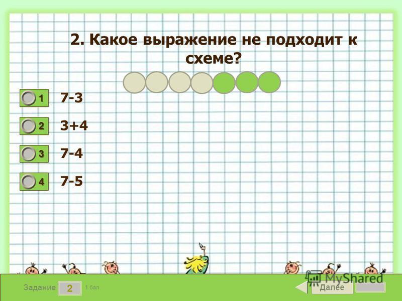 Далее 2 Задание 1 бал. 1111 2222 3333 4444 2. Какое выражение не подходит к схеме? 7-3 3+4 7-4 7-5