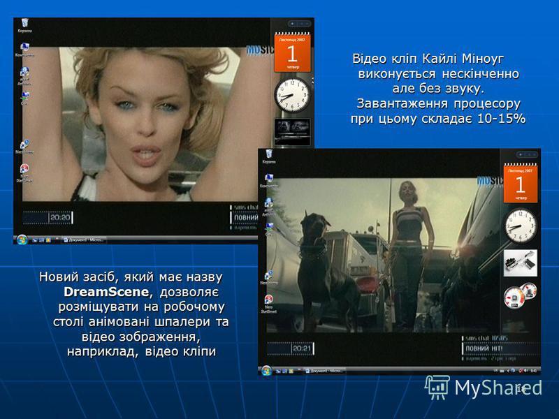 18 Новий засіб, який має назву DreamScene, дозволяє розміщувати на робочому столі анімовані шпалери та відео зображення, наприклад, відео кліпи Відео кліп Кайлі Міноуг виконується нескінченно але без звуку. Завантаження процесору при цьому складає 10